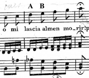 "Figure 1 Measures 34-36 from Mozart's ""Porgi amor"" from Le Nozze di Figaro Source: http://petrucci.mus.auth.gr/imglnks/usimg/8/8e/IMSLP75638-PMLP03845-Mozart.PDF"